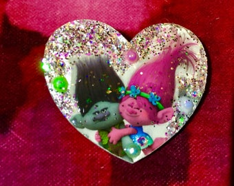 Branch and Poppy Trolls Heart Brooch.