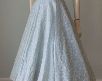 1950s Embroidered Organza Formal Bridal Bridesmaid Party Dress / Ice Blue Grace Kelly Style with Ballerina Skirt / I Magnin & Co / Small