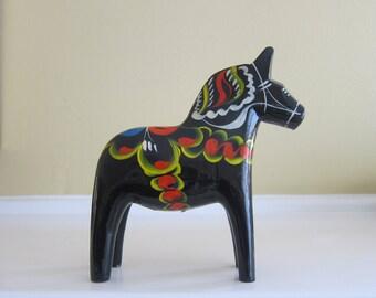 Swedish Dala Horse - Black 5 3/4 inch -  Akta Tillv. Yngve Tjader