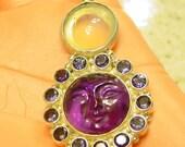 Sajen Amethyst and Moonstone Goddess/Sun Pendant