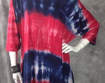 Red white and blue tie dye stripe loose top O/S