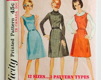 """Simplicity 5611 - Size 14 Bust 34 - 1964 Jumper Dress with Zipper Back -  Knee Length A-Line Jumper - """"How To Sew"""" Vintage Sewing Pattern"""