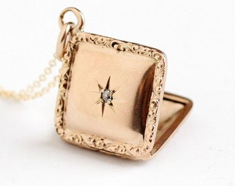 Sale - Antique 10k Rosy Yellow Gold Diamond Locket Necklace - Vintage Early 1900s Edwardian Star Double Sided Masonic Fraternal Fine Jewelry
