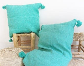 Giant Wool Floor Cushion with pompoms - Turquoise