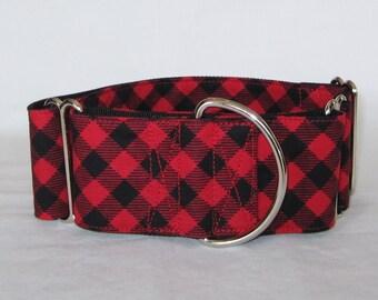Red Plaid Martingale Dog Collar - 1.5 or 2 Inch - black diagonal stripes picnic