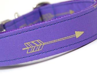 Handmade Dog Collar - Arrows Abound in Lavender - Purple Dog Collar Custom Made - With Golden Arrows - Modern Dog Collar