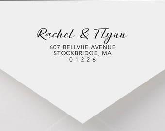 Personalized Return Address Stamp - Calligraphy Address Stamp, Self-Inking Return Address Stamp, Wood Address Stamp, Custom Stamp Style No.7
