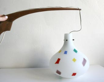 Frosted Glass Confetti Lamp with Teak Arm