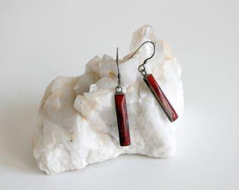 Sterling Coral Drop Earrings