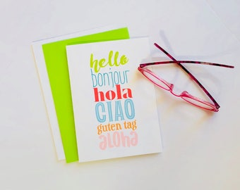 Hello Greeting Card, Bonjour, Hola, Ciao, Guten Tag, Aloha, International, Foreign Language, Bilingual, Just Because Card,