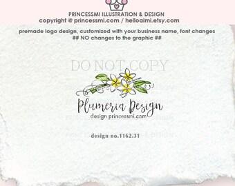1162-31   Plumeria logo design, sketch floral logo,  hand drawn flower, photography logo,  business logo,  boutique watermark