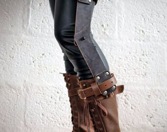 Leather Mini Knee Brace - 2 tone Brown - steampunk - burning man - apocalypse - mad max, Please read Description for size