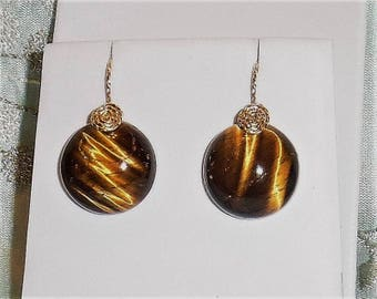 38 cts Natural Round Tiger Eye gemstones, 14kt yellow gold Pierced Earrings
