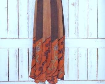 Vintage brown cotton embroidered patchwork floral maxi boho skirt/long striped flower hippie festival drawstring skirt/medium/large