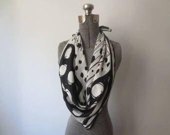 Vintage '60s Vera Neumann HUGE 2-Tone Black & White Polka Dot Silk Scarf, 30 x 29 Inches