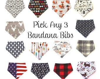 Pick Any 3 Bandana Bibs, Bandanna Bibs, Flower, Fox, Bunny, Girl Bib, Boy Bib, Bibdana, Drool Bib, Baby Shower Gift, Drool Scarf, Baby Gift