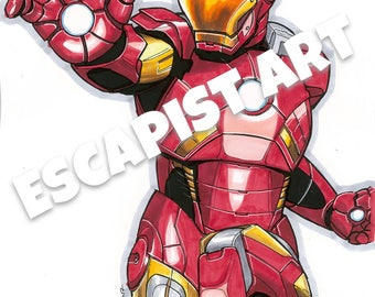 Iron Man Hand Drawn by Escapist Art Inspired Print Have It Framed or Unframed In A4 or A3