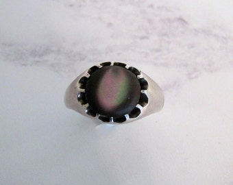 Mid Century Sterling Silver Cats Eye Belcher Ring. Gents Violet Apatite Ring. Mens Vintage Unique Statement Ring. Gifts For Him. Size 9.5