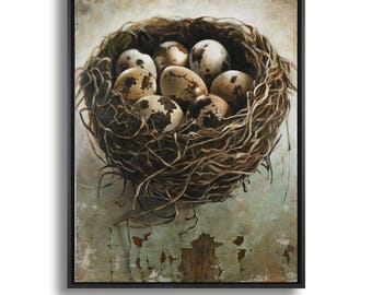 Bird Nest Art, Fine Art Canvas Print of Eggs in a Nest, Large Canvas Wall Art Prints, Painting of Nest Eggs, Farmhouse Chic Decor