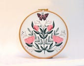 Butterfly and flower embroidery kit. Flower folk art.Modern embroidery. Mothers day. DIY gift. Entomology. Hoop Art. Broderie. Needle craft