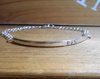 Personalized Double Chain ID Bracelet Sterling Silver Feminine Design Custom Size 7 Font Options Personalize Inside & Outside Medical Alert