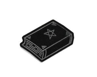Black Acrylic Pentagram Book Brooch