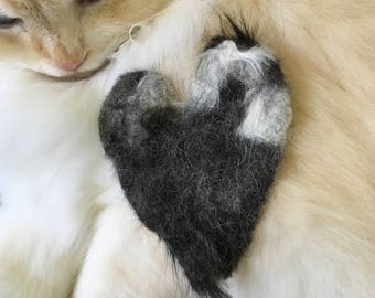 Felted Heart using your cat's fur