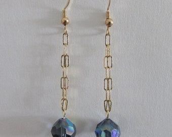 Elegant Vintage Swarovksi Crystal Dangle Earrings, #5300 Montana AB, Gold Filled Chain & Ear Wires