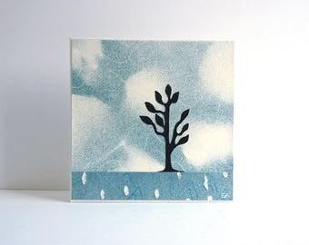 Blue Tree art collage, textured original artwork, Nature inspired art, tree landscape