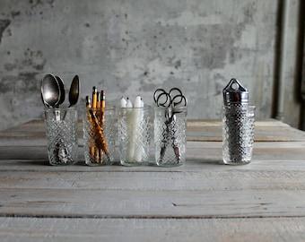 5 Vintage Jelly Jar Glasses / Candle Holders