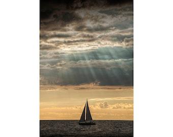 Sailboat sailing in Lake Michigan by Ottawa Beach in Holland Michigan No.6044 A Fine Art Seascape Photograph