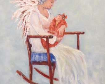 Angel baby rocking chair Giclee print on canvas of original oil painting by Sandra Cutrer Fine Art