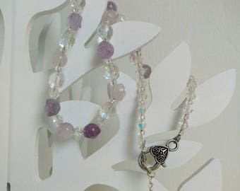 OOAK Gemstone Necklace, Amethyst Flower Beads, Svarowski Shine Crystal Beads, Bicone Crystal Beads, Seed Beads