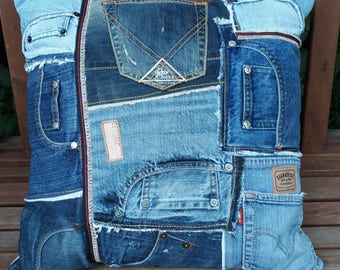 Upcycled jeans pockets cushion cover