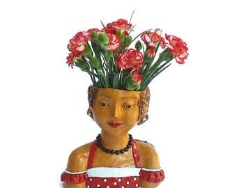 Ceramic vase, romantic girl in a swing dress