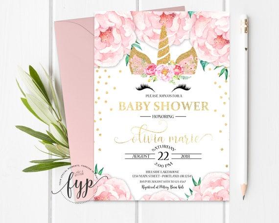 Baby Girl Shower Invitation Unicorn Baby Shower Invitation Girl