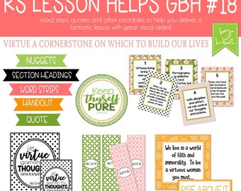 Relief Society Lesson Helps, Gordon B. Hinckley Lesson #18, RS Lesson Aides - Teachings of the Presidents of the Church, PRINTABLE Download