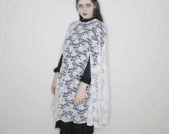 Vtg 60s white lace cape