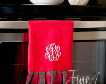 Red and Green Plaid Pattern Cotton Christmas Holiday Hand Towel with Ruffle Monogram or Name Embroidered