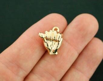 2 Fist Power Hand Charms Antique Gold Tone 3D - GC1239