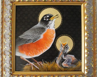 Theotokos - Robin Redbreast mother and child - realistic robin and chick songbird - religious art - saint bird painting - Byzantine art icon