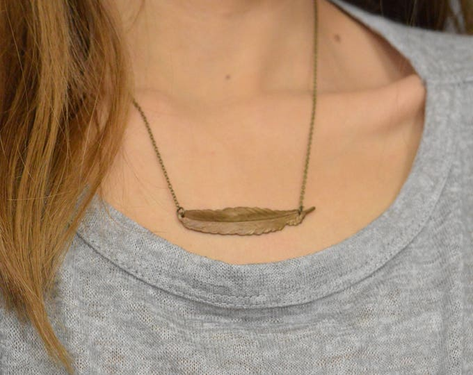 Antique Brass Feather Necklace, Bronze Feather Pendant, Layered Necklace, Feather Jewelry, Boho Necklace, Tribal Necklace