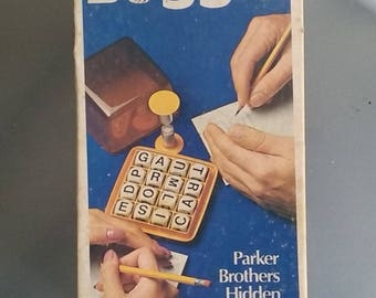 Boggle Word Game, 1977, Vintage Game, Family Fun, Hidden Word Game, Parker Brothers, Wooden Cubes, Lettered Cubes, Game Night