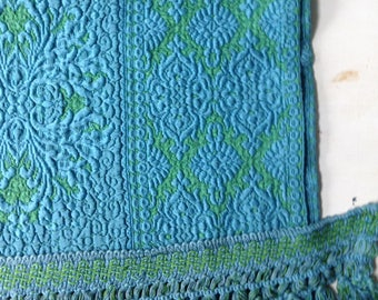 """Vintage Matelasse Drapes / Curtains - Turquoise & Green  - Two  34"""" x 80"""" Panels with Two Fringe Tie Backs"""