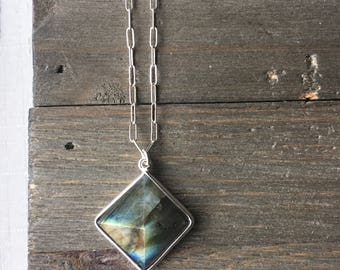 Labradorite Pyramid Necklace // Sterling Silver Chain