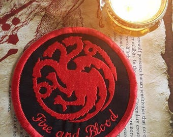 Game of Thrones, 'Fire and Blood',  House Targaryen, round patch patches UK