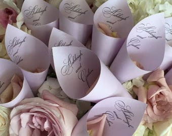 Personalized Wedding Petal Favor Cones (Shown in Kunzite)
