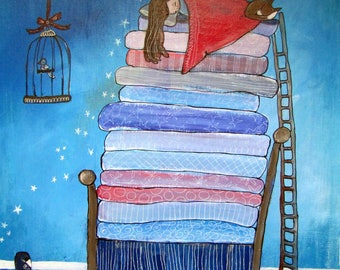 The Princess and the Pea Childrens Wall Art Print Whimsical Nursery Kids Room Decor Nursery Art Fairy Tale Artwork for Kids Storybook Art