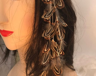 Feather hair extensions etsy dangling natural feather hair clip pheasant feather hair extension long tribal hair accessory pmusecretfo Images