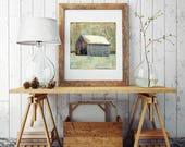 """Barn Print: Mixed Media, Fine Art Print, Farm Print, Farm Art Barn Art, New Hampshire print 8""""x8"""" (203mm) or 12""""x12"""" (304mm) """"Snowy Barn II"""""""
